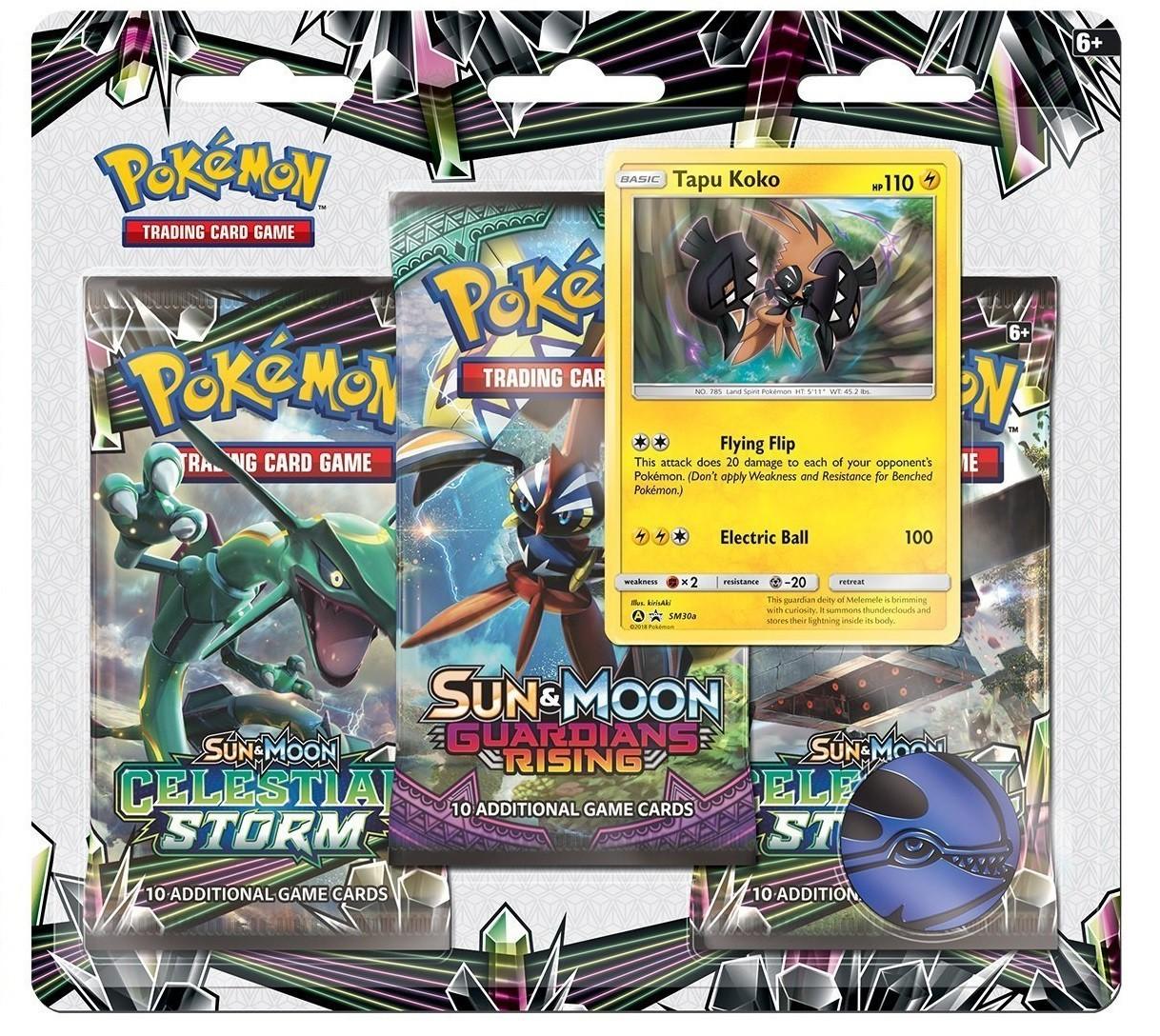 Pokemon TCG: Sun & Moon 7 Celestial Storm - 3 Pack Blister (Tapu Koko)